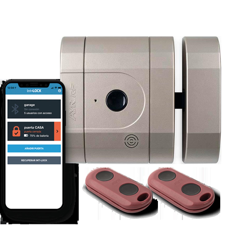 cerradura invisible de seguridad 148 color níquel mate con mandos bluetooth y aplicación móvil